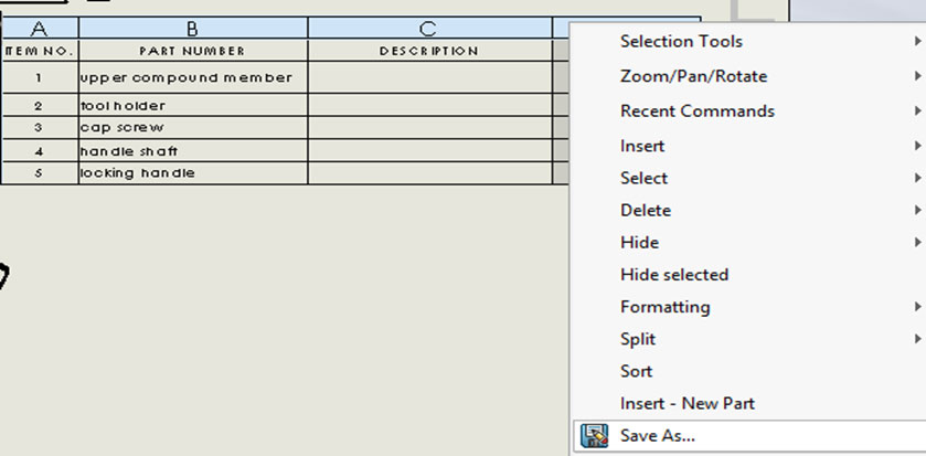 To create a SOLIDWORKS Bill of Materials Template for
